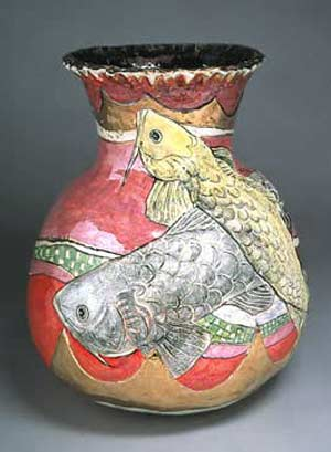 Koi with Pink vessel sculpture