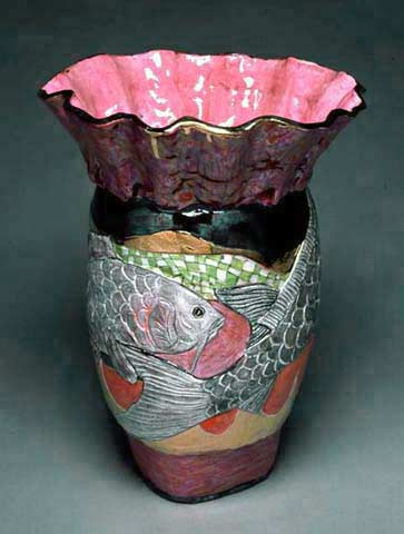 Koi with Ruffle vessel sculpture